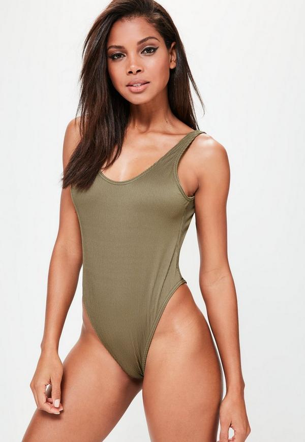 Khaki Low Back Ribbed Swimsuit