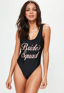 Schwarzer Badeanzug mit Brides-Squad Slogan