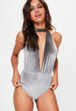 Grey Velvet Choker Neck Plunge Swimsuit