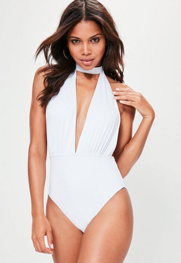 White Choker Neck Plunge Swimsuit