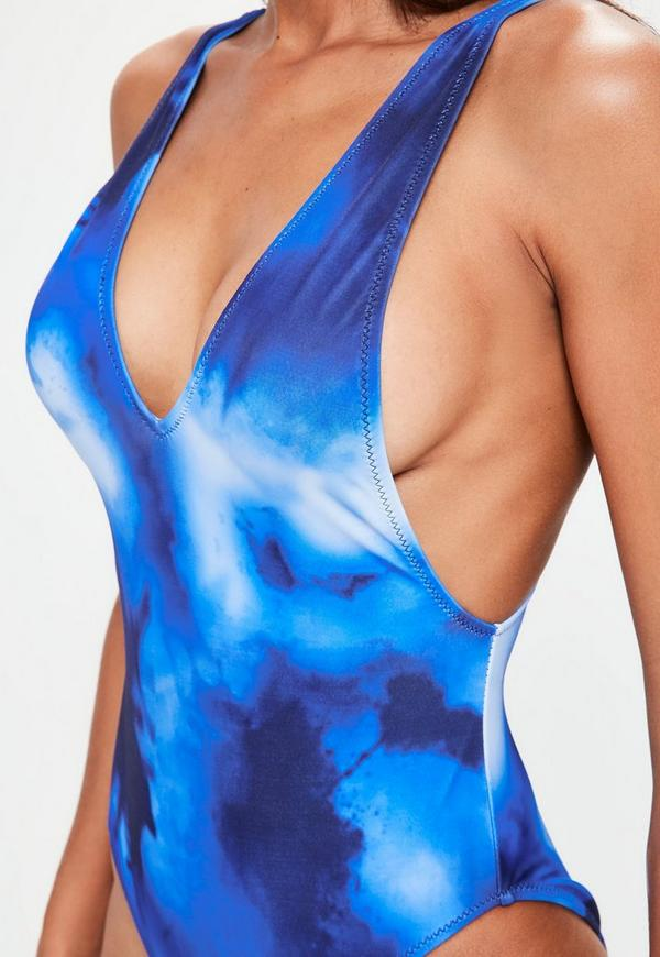 Blue Plunge Tie Dye Swimsuit Missguided Ireland