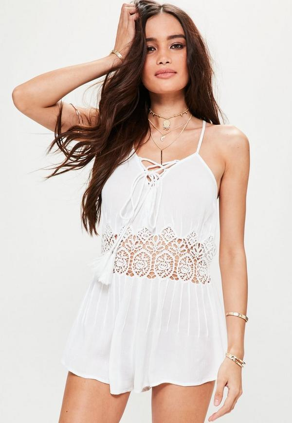 White Lace Insert Playsuit