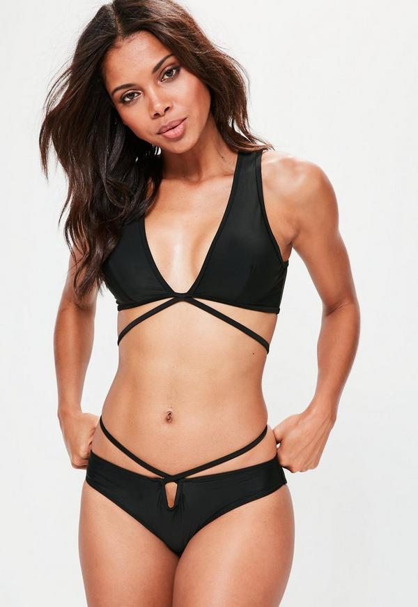Black Deep Plunge Wrap Around Bikini Set