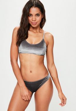 Grey Velvet Bikini Set