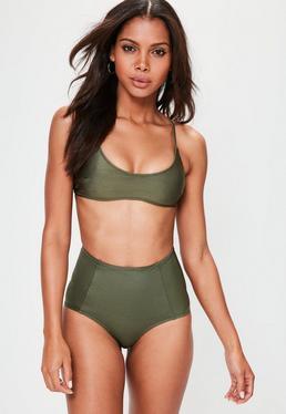 Khaki Sporty Cross Back Bikini Top