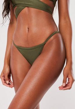 Skinny Tanga Bikini Höschen in Khaki