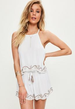 White Mirror Trim Cami and Short Beach Set