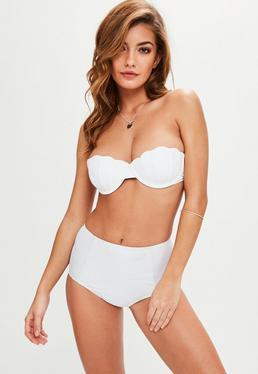 Bikini Top palabra de honor forma concha en blanco
