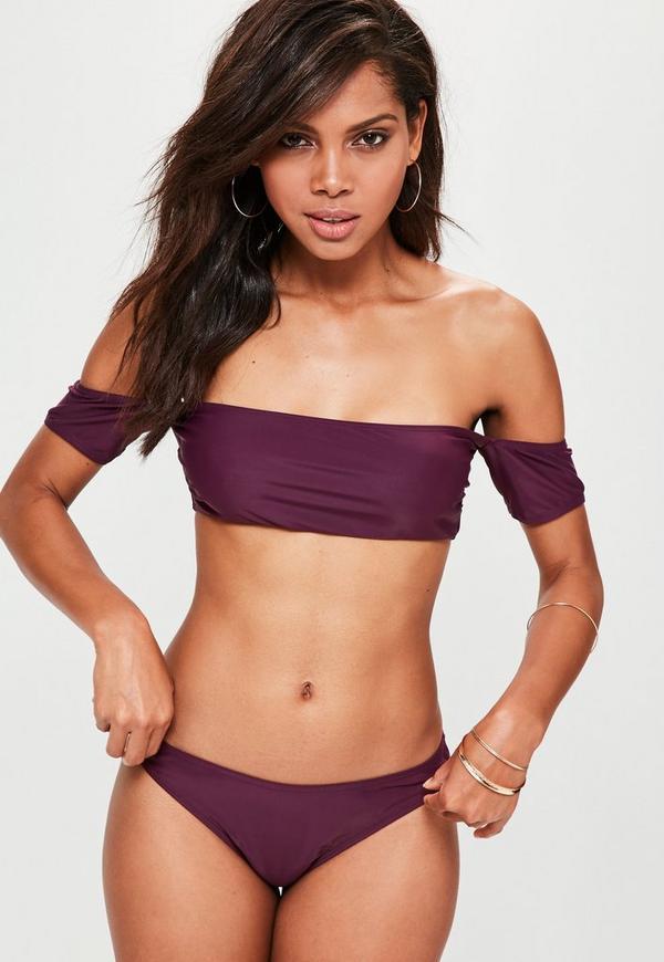 Purple Bardot Bikini Set