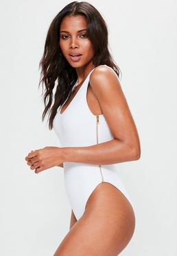 White Double Zip Detail Swimsuit