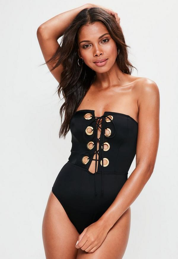 Black Extreme Lace Up Swimsuit