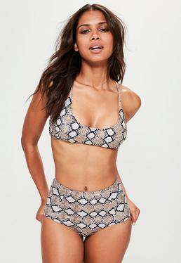 Grey Snake Print Cross Back Bikini Top - Mix&Match