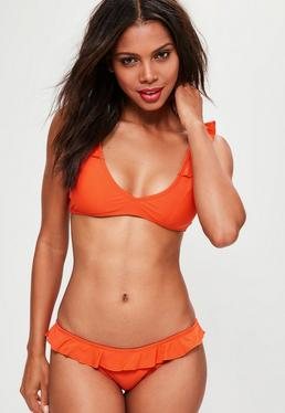 Orange Frill Shoulder Bikini Top Mix&Match