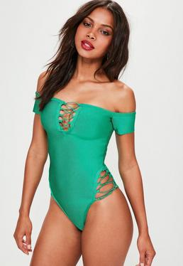 Green Bardot Bandage Lace Up Detail Swimsuit