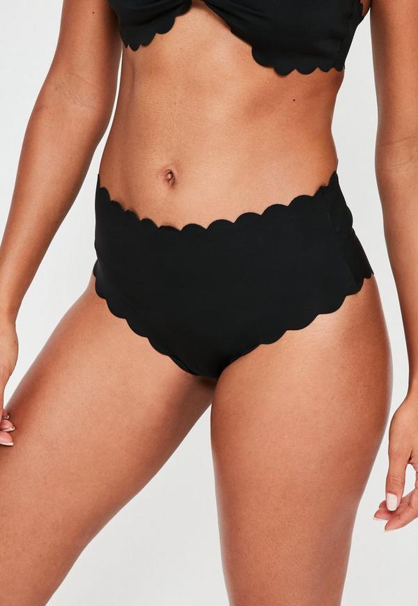 Black Scallop High Waisted Bikini Bottoms - Mix & Match