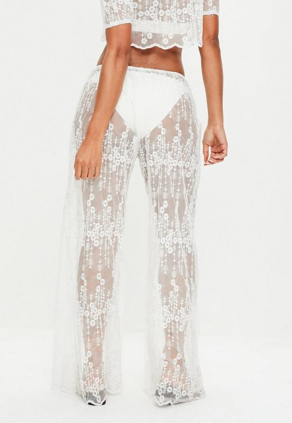 White Lace Pants Missguided