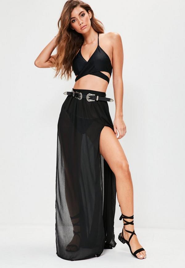 Black Chiffon Double Split Beach Maxi Skirt