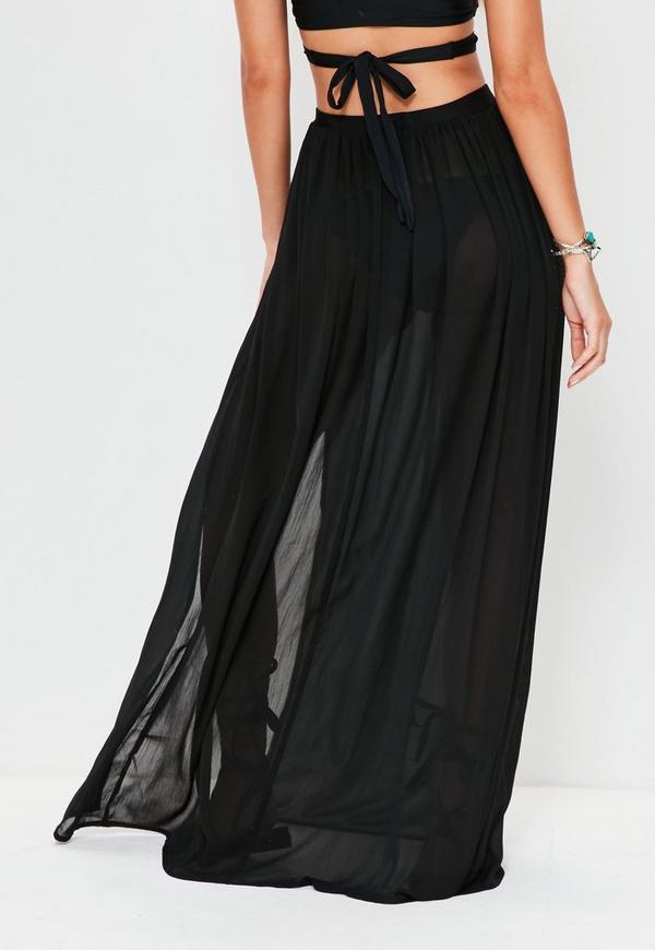 Black Chiffon Double Split Beach Maxi Skirt Missguided