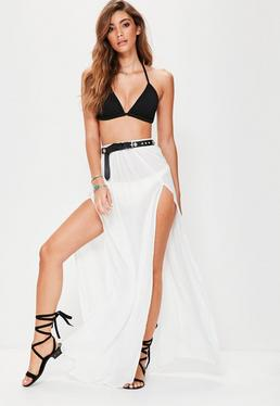 White Chiffon Double Split Beach Maxi Skirt