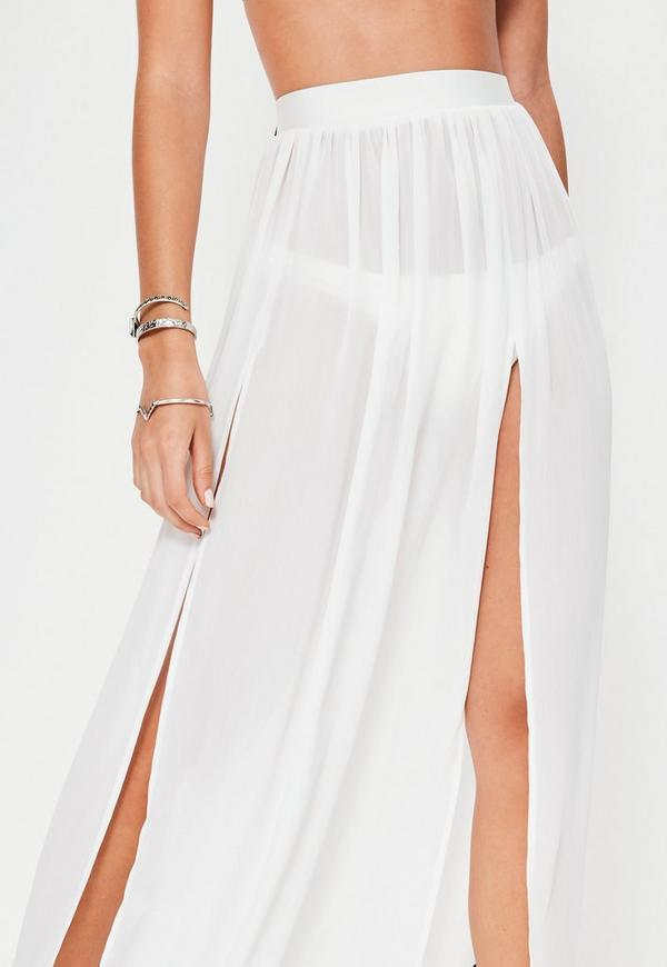 white chiffon split maxi skirt missguided