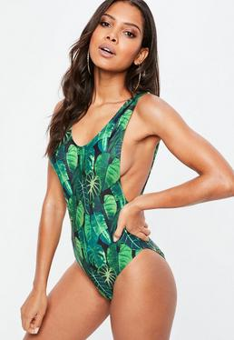 Green Leaf Print Low Side Swimsuit