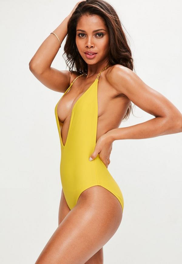 Yellow Plunge Detail Chain Swimsuit