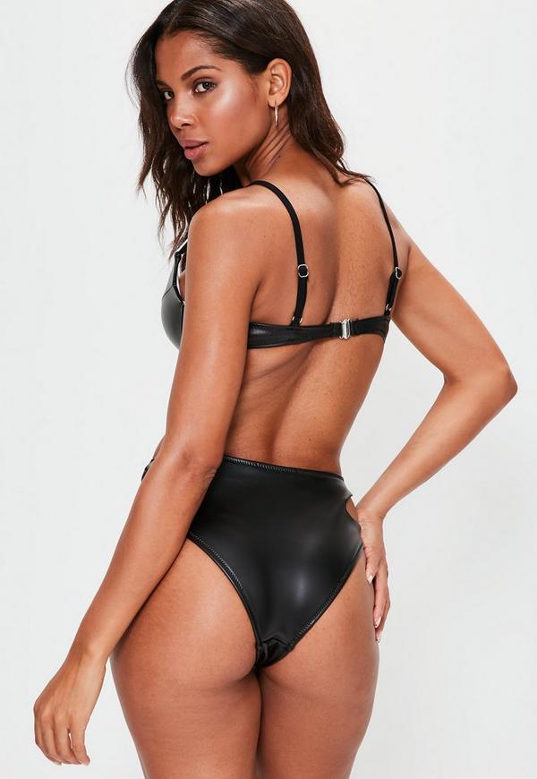 Amber glistening black cut out high waist bikini