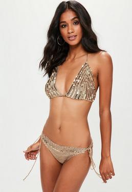 Gold Sequin Bikini Set