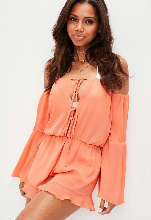 Orange Bardot Beach Playsuit
