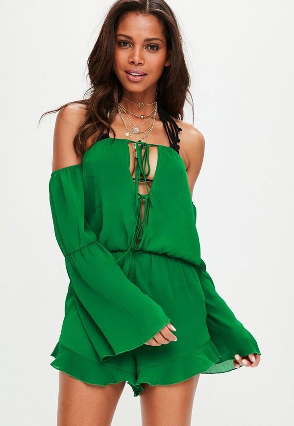 Green Bardot Beach Playsuit