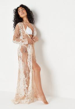 Premium Spitzen-Maxi-Kimono in Nude