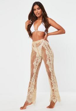 Pantalón premium playero de encaje con flecos en nude