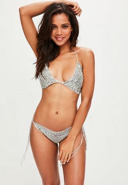 Silver Sequin Bikini Set