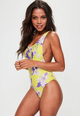Yellow Floral Print High Leg Swimsuit