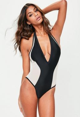 Black Invisible Panel Swimsuit