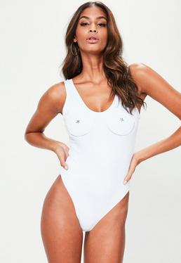 White Graphic Swimsuit