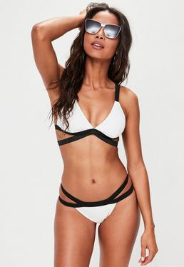 White Cross Over Triangle Bikini