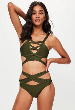 Khaki Strappy Bandage Bikini Set