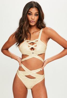Gold Metallic Strappy Bandage Bikini Set