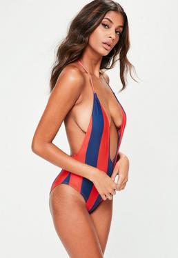 Red Stripe Slogan Swimsuit