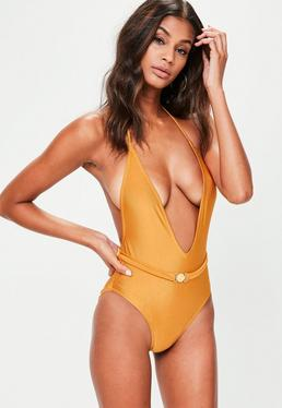 Orange Belted Plunge Swimsuit