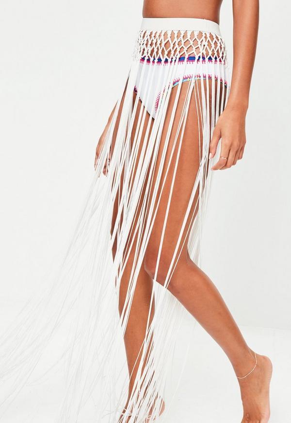 white tassel maxi skirt missguided australia