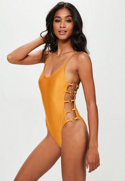 Yellow Eyelet Swimsuit