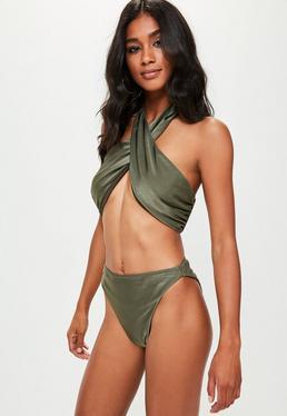 Khaki Cross Front Bikini Set