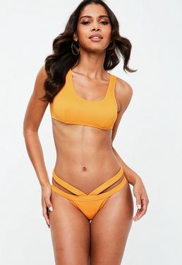 Orange Strappy Bikini Set