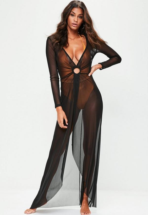 Black Mesh Maxi Cover Up Dress Missguided