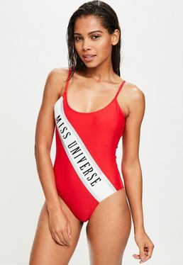 Miss Universe Red Slogan Swimsuit