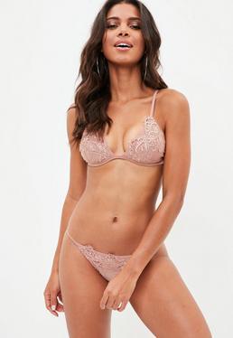 Nude Applique Triangle Bikini Set