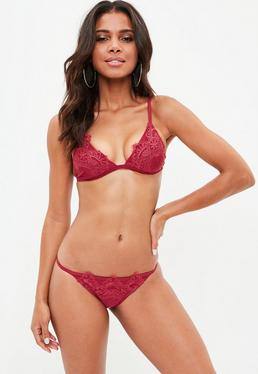 Burgundy Applique Triangle Bikini Set