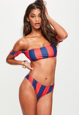 Red Striped Bardot Bikini Set